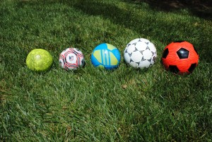 Ball Sizes 1, 2, 3, 4, 5 (L-R)